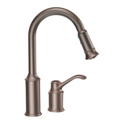"Moen - Moen 7590ORB High-Arc Pull-Down Kitchen Faucet (Oil-Rubbed Bronze) - Moen 7590ORB is part of the ABERDEEN collection. Moen 7590ORB has an Oil Rubbed Bronze finish. Moen 7590ORB is a new style deck moun"" high Arc Pulldown Kitchen faucet. Pullout spray has 68"" braided hose and has Hydrolock quick connect installation. Moen 7590ORB mounts in a 2-hole sink, has an 8 1/2"" long and 15"" high arc spout and a full 8 1/8"" from deck to aerator. Moen 7590ORB Single lever handle provides ease of operation. Moen 7590ORB is part of the Aberdeen kitchen collection with its pause button feature allowing user to conveniently interrupt water flow and still keeping its classic style but with surprisingly nimble functionality. Oil Rubbed Bronze is an exclusive finish from Moen and provides style and durability. Moen 7590ORB metal lever handles meets all requirements of ADA ASME A112.18.1/CSA B125.1, NSF 61/9. Proposition 6"". Lifetime Limited Warranty."
