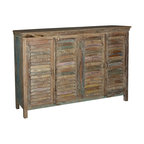 Sierra Living Concepts - Reclaimed Wood Furniture Rustic Shutter Doors Buffet Sideboard Cabinet - Mellowed shades and dark colors combine with the natural aging of old wood to create this relaxed yet sophisticated cabinet.