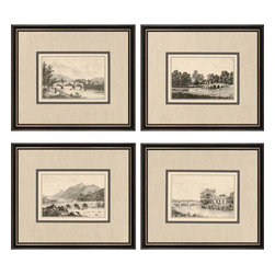 Paragon - Idyllic Bridges PK/4 - Framed Art - Each product is custom made upon order so there might be small variations from the picture displayed. No two pieces are exactly alike.
