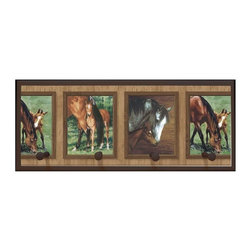illumalite Designs - Mare and Foal Plaque w Pegs in Brown - Includes hanging hardware. Solid wood base. Made in USA. 25 in. W x 4 in. D x 10.25 in. H (3.44 lbs.)