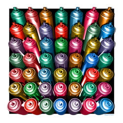 """Maxwell Dickson - Maxwell Dickson """"Spray Cans"""" Wall Art Canvas Print Graffiti Pop Art Modern - We use museum grade archival canvas and ink that is resistant to fading and scratches. All artwork is designed and manufactured at our studio in Downtown, Los Angeles and comes stretched on 1.5 inch stretcher bars. Archival quality canvas print will last over 150 years without fading. Canvas reproduction comes in different sizes. Gallery-wrapped style: the entire print is wrapped around 1.5 inch thick wooden frame. We use the highest quality pine wood available."""