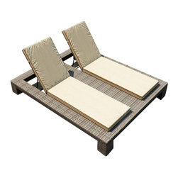 Forever Patio - Hampton Double Adjustable Chaise Lounge, Heather Wicker and Beige Cushions - The Forever Patio Hampton Modern Patio Double Adjustable Chaise Lounge with Cream Sunbrella cushions (SKU FP-HAM-DACL-HT-AC)