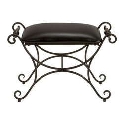 """Benzara - Masterpiece Antiqued Metal Leather Ottoman Foot Stool - Masterpiece antiqued metal leather ottoman foot stool. New sleek designer high quality leatherette seat ottoman. foot stool features solid arched metal frame resting on four spiral legs with black distress leatherette seat. Great ottoman with Classic Steel warm finishes and accent, which create a inviting atmosphere. Dimension: 21""""H x 31""""W."""