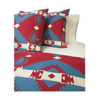 Cokas Diko - Cokas Diko Sundance Duvet Set, Queen - You will be dreaming of a full moon out your back porch window and the great outdoors while sleeping under Cokas Diko Sundance Duvet Set.  Red and blue Native American print on a warn ivory background.  Our rustic and relaxing Cokas Diko exclusive duvet sets are available in king and queen with coordinating shams. The pattern reverses itself and created with 300 count pre washed percale cotton.  Machine washable.  Each queen comes with two standard shams.