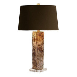 Arteriors Home - Arteriors Home Fargo Cylinder Table Lamp - Arteriors Home 49604-600 - Arteriors Home 49604-600 - A natural tree trunk with the bark is mounted on a square acrylic base and topped with a brown microfiber shade lined in silver foil.