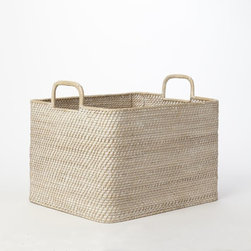 Modern Weave Oversize Storage Bin, Whitewash - This is an ideal storage basket. It is neutral in color and the perfect size to put in the corner, next to a chair or under a table. It can hold throws, wood for the fireplace or even boots when you come in from outside.