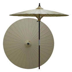 "Oriental-Décor - Vanilla patio umbrella - Children, helpful people and marriage are all attributed to white in the Oriental tradition. White is also an optimal color for mixing well with any outdoor color theme, and in general signifies purity.    - 7 foot umbrella pole constructed of rich stained oak hardwood.  - Each umbrella is entirely handcrafted down to the finest detail.  - Oil-treated cotton umbrella shades are all hand-painted by our master artists.  - Dual position shade height allows for full coverage or a better view of the painted shade.  - Waterproof and weatherproof.  - Two-piece pole fastens securely with a polished metal coupling.  - Pole diameter of 1.5"" easily fits into any standard size umbrella base or table.  - Optional umbrella base available - handcrafted from stained oak hardwood."