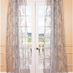 EFF - Agatha Taupe Grey Patterned Sheer Curtain Panel - Create a soft diffusion of light in your home with this elegant sheer curtain panel. Featuring a grey taupe color scheme in a leaf-like pattern,uplift the look of your interior space with this beautiful polyester panel.