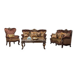 Cosmos Furniture - 3PC Victorian Red Velvet Fabric Upholstery Gold Cushion Seating Sofa Set - The Kohinoor Victorian Collection is one of the many breath taking luxurious living room sofa set from Cosmos Furniture.  The rich red velvet fabric upholstery features jeweled tufted design on the backrest of sofa, love seat, and accent chair.  The gold multi pattern fabric plush cushions provides extra comfort for hours of relaxation.  The dark cherry wood finish on legs and sides also add to the appeal of this living room set.  Fall in love with the surplus of decorative pillows that adds to the décor of the Kohinoor Collection.