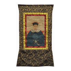 Golden Lotus - Chinese Hand Painted Emperor Kang Xi's Portrait Hanging Decor - This is an old hand painted portrait with new frame. The person in the painting is emperor Kang Xi. This kind of old portrait is now hard to find in the market, it is a nice art works for either decoration or collection.