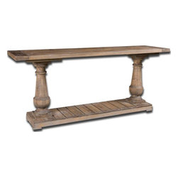Uttermost - Stratford Console - 24250 - Uttermost 24250 - Solidly constructed of salvaged fir lumber and hand turned balusters. Sun faded and distressed patina is finished with a stony gray wash.