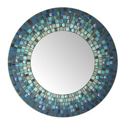"Round Mirror - Blue Mosaic (Handmade), 18"" - DESCRIPTION"