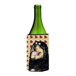 Caroline's Treasures - Tibetan Mastiff Fall Leaves Portrait Wine Bottle Koozie Hugger - Tibetan Mastiff Fall Leaves Portrait Wine Bottle Koozie Hugger Fits 750 ml. wine or other beverage bottles. Fits 24 oz. cans or pint bottles. Great collapsible koozie for large cans of beer, Energy Drinks or large Iced Tea beverages. Great to keep track of your beverage and add a bit of flair to a gathering. Wash the hugger in your washing machine. Design will not come off.