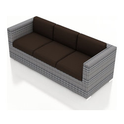 Harmonia Living - Urbana Modern Wicker Sofa, Weathered Stone Wicker, Charcoal Cushions - The Harmonia Living Urbana Outdoor Wicker Modern Sofa with Brown Sunbrella cushions (SKU HL-URBNWS-S-CO) features clean lines, premium synthetic wicker and brushed aluminum feet, giving it a fantastic modern look. Unlike outdoor rattan sofa sets, the High-Density Polyethylene (HDPE) wicker in this one is infused with a Weathered Stone color and UV treatment, creating long-lasting color that is fade resistant and cannot be stripped off. Underneath the outdoor wicker is a sturdy, thick-gauged aluminum frame that is powder coated, making it incredibly corrosion resistant. The seats are reinforced to prevent excessive wicker stretching, ensuring you and your guests can sit securely each time. This modern outdoor sofa includes seat and back cushions covered in fade- and mildew-resistant Sunbrella fabric.