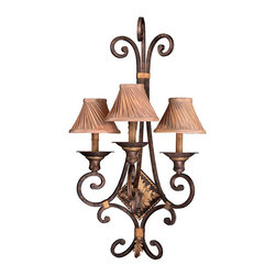 Frontgate - Zaragoza Three-light Wall Sconce - Provides ample illumination while making a brilliant focal point for any room. Three-light Pendant and Three-light Semi Flush require three 60-watt medium base bulbs (not included). All others use 60-watt candelabra bulbs (not included). Optional cloth shades on the Three-Light Wall Sconce and Eight-light Chandelier not included (sold separately). 120V. Exquisite detailing and a wrought-iron appearance make our Zaragoza Lighting Collection so refined and romantic. Accents of brass in a golden bronze finish stand out on the delicate framework, as do the faux candle wax or frosted glass on individual pieces in this handsome set. Bring classical styling and functional luxury wherever you need fine lighting.  .  .  .  .  . UL listed . One year limited manufacturer's warranty . Some assembly required . Imported.