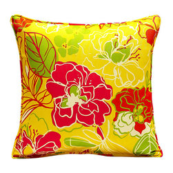 Evergreen - Summer Blooms Pillow - Instantly enliven your favorite outdoor seating with this pillow that boasts a plush form and a cheerful floral print.   16'' x 16'' Polyester Imported
