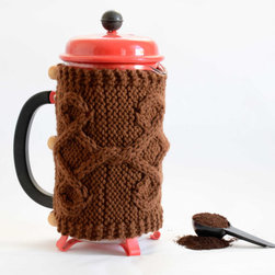 French Press Cozy, Brown by Odessete's Studio - Keep your coffee cozy with a sweater.