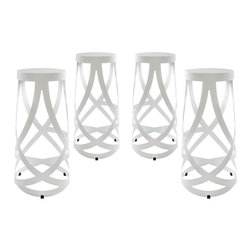Modway - Ribbon Bar Stool Set of 4 EEI-1361 White - Positioned firmly atop the impossible, Ribbon makes it easy to go where you didnt think you could. Molded from reinforced strips of coated aluminum, the stool introduces just the right amount of complexity to your environment, without appearing too busy and chaotic. Ribbon is the stool just right for the rebellious side of you. Not too ostentatious, but ever one to impress.