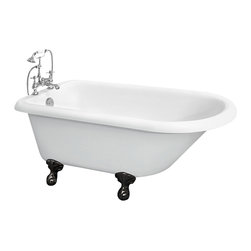 """The Tub connection - Freestanding 55"""" Acrylic Rolled Rim Bathtub with 7"""" Faucet hole Drillings - One of the most sought after authentic vintage tub types, this classic 55"""" rolled rim soaking tub with its comfortable and stylish contoured end is perfect for a long, warm soaking experience supplying you with one of the most therapeutic therapies for everyday life - time alone, submerged into a sea of warm waters, a million miles from anywhere, in the convenience of your own house."""