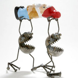Gnome Bearers with Gnome - Fun, funky, and always very unique, Fred Conlon's award-winning metal art has appeared in art festivals across the nation. Handmade mostly from recycled material, factory seconds and stuff found in the scrap yard, each piece is unique and one of a kind.