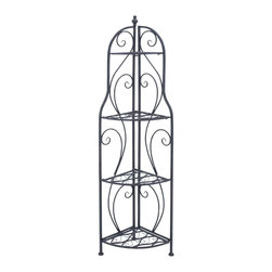 "Benzara - Corner Rack with Modern Interiors and Conventional Decors - Corner Rack with Modern Interiors and Conventional Decors. Jazz up your home decor with this stylishly designed metal corner rack. It comes with following dimensions: 17"" W x 11"" D x 60"" H."