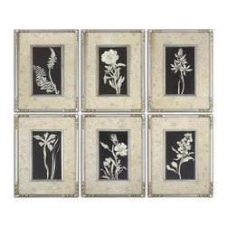 Uttermost - Glowing Florals Framed Art, Set of 6 - These prints are accented by mats with a silver leaf look with aged, antique accents coming through the silver. Matching frames and fillets in silver leaf add the finishing touches to this artwork.