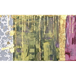 Modern Honey (Original) by Elizabeth - Mixed media on gallery wrapped canvas. I wanted a modern feel but colors versatile enough to suit any room. The color scheme is a subdued play on Mardi Gras colors purple (plum-wine), green (olive), and gold. The tissue paper came in a box from a local New Orleans jewelry store and gave me the inspiration to make the gold leaf drip down like honey. Specially finished sealer applied for added protection.