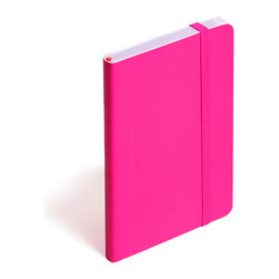 Poppin - Soft Cover Notebook, Pink, Small - Keep your little black book — or play the field in a rainbow of colors. This notebook features 192 white ruled pages for your field notes, love poems and bright ideas, and it has an interior pocket, elastic closure and an orange bookmark so you know your place.