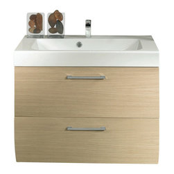 Iotti - 31 Inch Vanity Cabinet With Ceramic Sink - This stylish wall mounted bathroom vanity set include a vanity cabinet made of engineered wood in a natural oak finish.