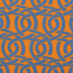 Serena & Lily - Highland Knot Outdoor Fabric  Saffron - Winding in and out and back again, this intricate pattern is pure poetry. Lifted from Serena's sketchbook, it's her chic twist on a Celtic knot. Printed on our fabulous all-weather fabric, it withstands the elements with style. Saffron ground with ultramarine knots.