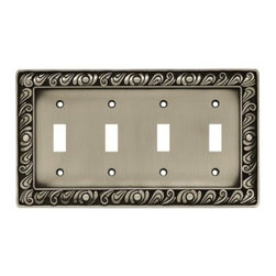 Liberty Hardware - Liberty Hardware 64041 Paisley WP Collection 8.59 Inch Switch Plate - Brushed Sa - The Paisley design adds a glamorous feel to every room with its tear drop design. The pewter finish brings distinguished style and old world feel to any room. Fasteners are included and sized to fit standard electrical boxes. This family is available in the 10 most popular wall plate configurations.. Width - 8.59 Inch,Height - 4.9 Inch,Projection - 0.3 Inch,Finish - Brushed Satin Pewter,Weight - 1 Lbs