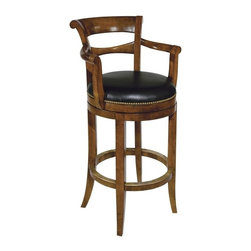 EuroLux Home - New Swivel Counter Stool Waxed Cherry - Product Details
