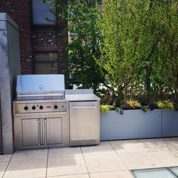 """Outdoor Kitchens - Viking 36"""" Built In 300 Series Grill with Double Access Doors & 20 Inch Outdoor Rated Refrigerator.  This Outdoor Kitchen also features a Stainless Steel Countertop & Backsplash."""