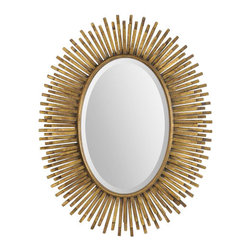 "Ren Wil - Ren Wil MT1391 Sparta 31"" Oval Beveled Metal Frame Wall Mounted Mirror - Features:"