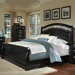Standard Furniture - Vienna Sleigh Bed - The noble styling of Vienna brings a mélange of classical European motifs from across the ages to todays home. Features: -Vienna Collection. -Metal pulls, knobs/backplates and key. -Ebony black finish with emperor hg tops. -Classically inspired details include fluted pilasters, acanthus leaf scrolled blocks, a sleigh bed profile, and ornate cast scrolled leaf inserts. -Cases for clothing include a 6-Drawer Double Dresser and a 5-Drawer Chest. -An Old World aged pewter finish mirror displays black framing around ornately cast leaves and scrolls with a beveled mirror. -The stately Sleigh Bed in Queen or King Bed has a black PVC panel with Argyle pattern stitching and pewter finish nailheads for accenting. It features a wide crown insert of the same cast leaves and scrolls found on the Mirror. -Vienna features open panel construction, with quality engineered wood products, and ebony black laminate surfaces with a special top finish. -Cases have Marbella faux marble tops that add the sumptuous look of dark Emperador stone. -Aged pewter finish color cast metal hardware has an opulent European character with ornate bails and knobs. -Manufacturer provides one year warranty. -Care: Surfaces clean easily with a soft cloth.