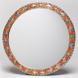 """18"""" Round Moroccan Henna Bone Mirror - This beautifully unique wall mirror is framed with inlaid bone and hand-embossed metal. The hand-carved bone is from camel, sheep or cow and is stained with natural henna."""