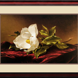 Amanti Art - Magnolia Grandiflora Framed Print by Martin Johnson Heade - There really isn't any other place in your house for this sensual still life except the bedroom. You'll delight in this image of a creamy magnolia resting on a bed of plush red velvet. The work of Martin Johnson Heade, the print's cherry frame picks up the velvet's rosy hue.