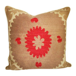"Metrohouse Designs - ""Consigned"" Vintage Suzani Bolinpush Accent Pillow 1A - Outstanding Vintage Bolinpush Suzani Pillow"
