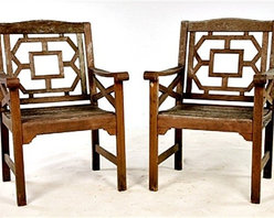 "GoreDean Antiques - Antique Chinese Chippendale Garden Chairs - Dimensions: Ht: 36.5"" Width: 25"" Depth: 22.5"""