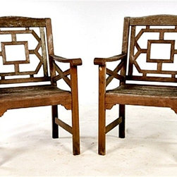 """GoreDean Antiques - Antique Chinese Chippendale Garden Chairs - Dimensions: Ht: 36.5"""" Width: 25"""" Depth: 22.5"""""""