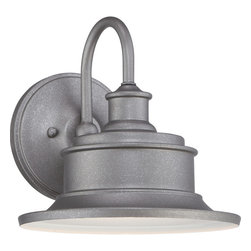 Quoizel - Quoizel Galvanized Exterior - SKU: SFD8409GV - Take a stroll on the boardwalk with the Seaford outdoor collection. Available in Imperial Bronze and a Galvanized finish, its recessed bulb and broad shade focuses the light where you need it most. The Seaford collection illuminates the exterior of your home in style.