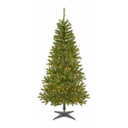 6 1/2 Ft. Canadian Grande Fir Christmas Tree with 300 Clear Lights - Measures 6.5 feet tall with 41 inch diameter. Pre-lit with 300 UL listed, pre-strung clear lights. Tip count: 680. All metal hinged construction (branches are attached to center pole sections) Comes in two sections for quick and easy set-up. Includes tree stand. Light string features BULB-LOCK to keep bulbs from falling out. If one bulb burns out, others remain lit. Fire-resistant and non-allergenic. Includes spare bulbs and fuses. 5-year tree warranty / 2-year lights warranty. Packed in reusable storage carton. Assembly instructions included.