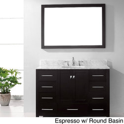 VIRTU - Virtu USA Caroline Avenue 48-inch Single Sink Bathroom Vanity Set - The Caroline Avenue 48-inch single sink vanity set is equipped with two soft closing doors, nine soft closing drawers, a gorgeous Italian Carrara white marble countertop and three pre-drilled widespread faucet holes. The basin is either round or square.
