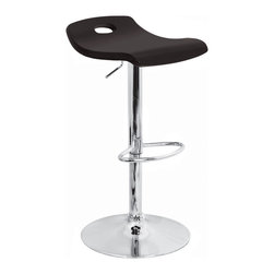 Lumisource - Surf Bar Stool Black - Who says waves are just for riding a board on? With this adjustable-height bar stool, you'll be able to surf the undulating curve of the wood seat while placing the footrest in the most ergonomic position. The polished chrome base, pole and footrest add to its contemporary appeal.