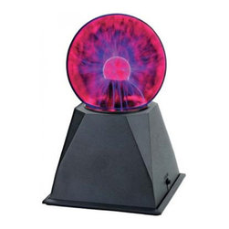 """Creative Motion - Lightning Glass Plasma Ball - 4"""" w/ Sound Activation - A globe sets atop a stylish black base. Colorful streams of electricity dance across the surface of the globe. Touch the glass and the lightning streams travel to your fingertips."""