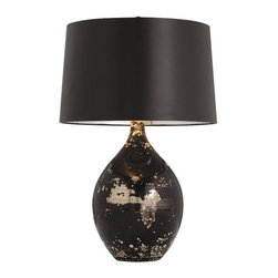Arteriors - Flynn Lamp - A fashion-forward fusion of black and silver! You'll love the sophistication of these glass lamps topped with black drum shades. A pair would be just the thing to complement your wrought iron bed in the master bedroom or cast a warm glow over your contemporary leather furniture.