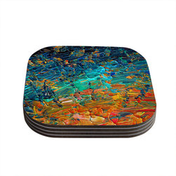 "Kess InHouse - Ebi Emporium ""Eternal Tide II"" Teal Orange Coasters (Set of 4) - Now you can drink in style with this KESS InHouse coaster set. This set of 4 coasters are made from a durable compressed wood material to endure daily use with a printed gloss seal that protects the artwork so you don't have to worry about your drink sweating and ruining the art. Give your guests something to ooo and ahhh over every time they pick up their drink. Perfect for gifts, weddings, showers, birthdays and just around the house, these KESS InHouse coasters will be the talk of any and all cocktail parties you throw."