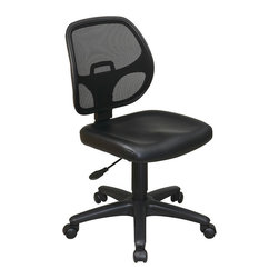 Office Star - Work Smart EM Series EM2910V Mesh Screen Back Task Chair with Vinyl Seat - Mesh screen back task chair. Breathable screen back and black vinyl seat with built-in lumbar support. One touch pneumatic seat height adjustment. Heavy duty nylon base with dual wheel carpet casters.