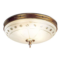 "Inviting Home - Ceiling Lighting Fixture (large) - large solid cast brass round ceiling light with etched frosted glass bowl and French gold finish; 20"" x 20"" x 8-1/2""H; hand-crafted in Italy; Hand-crafted in Italy solid cast brass round ceiling light with etched frosted glass bowl. Ceiling light has a French gold finish; made in Italy. This ceiling light is available in two sizes."