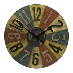 Imax - iMax Clarke Game Piece Wall Clock X-77047 - In bright primary shades, the Clarke game piece wall clock has the retro look of classic toys from days of the past. It will definitely add color to your walls and a conversation piece to your home.